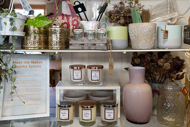 An assortment of gifts for the home in The Flower Shop Bruton