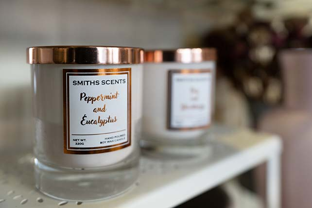 Smiths Scents candles at The Flower Shop Bruton