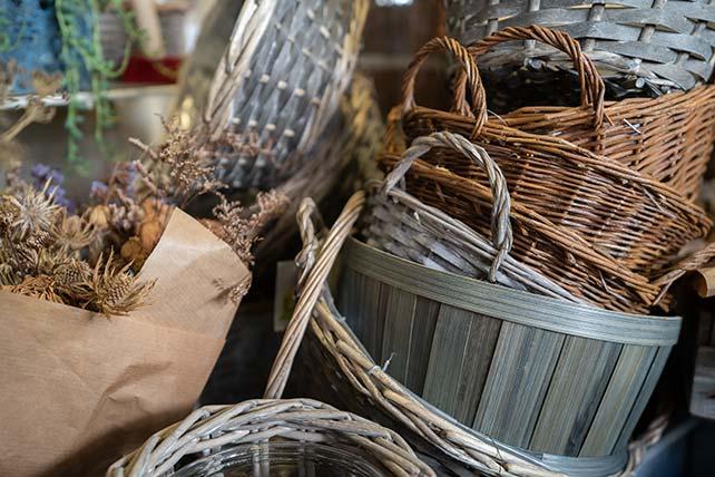 Hand woven wicker baskets