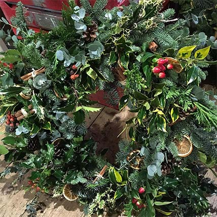 Christmas wreath from The Flower Shop Bruton