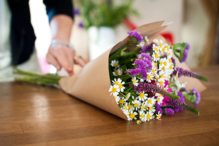 Freshly cut bouquet of flowers in The Flower Shop Bruton