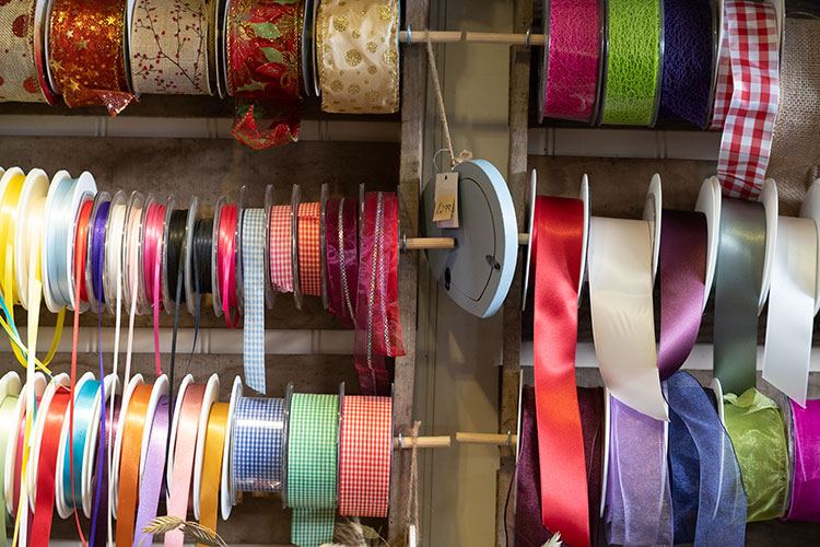 Colourful ribbons for gift wrapping at The Flower Shop Bruton
